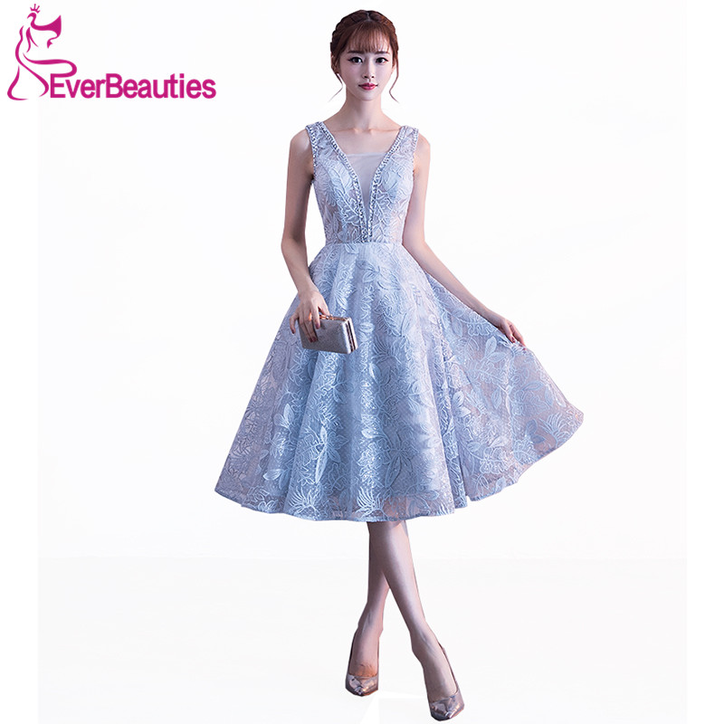 Short Evening Dresses Light Grey Tulle with Lace Appliques Beaded Sexy V-Neck 2019 New Arrival Prom Party Dresses Abiye