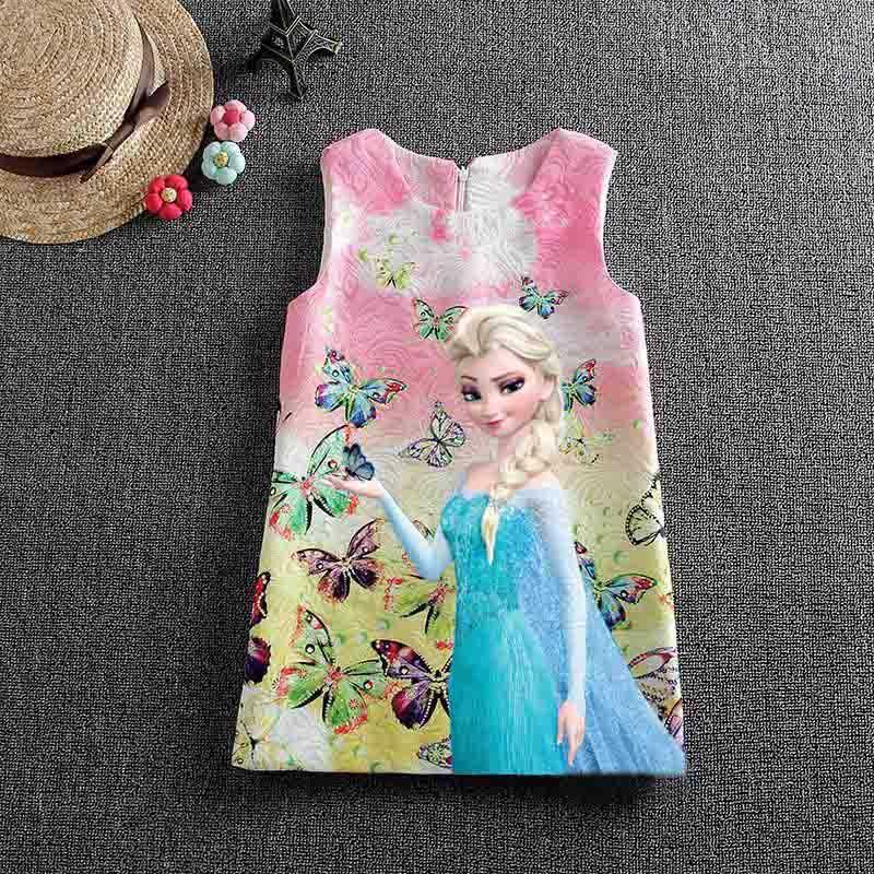 летнее платье для девочек эльзы анна платье партии vestidos подростков платье принцессы с принтом бабочки для обувь для девочек эльза для маленьких девочек одежда