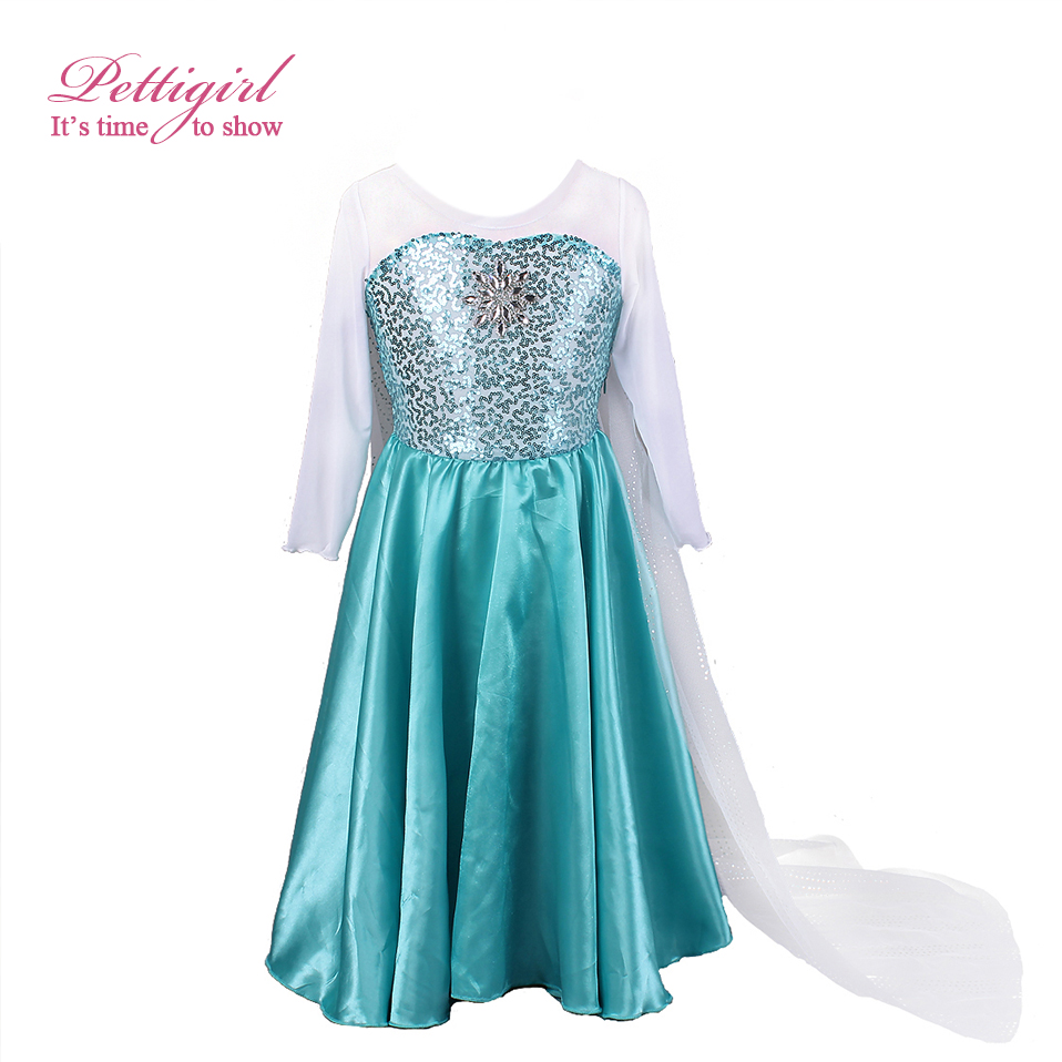Pettigirl Blue Polyester Elsa With Snow Dress Halloween Dresses ...