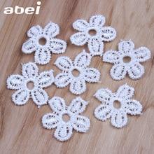 23mm 50pcs Wholesale mini flower appliques lace fabric acces