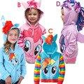 Новый My Little Pony Рэйнбоу Дэш Девочек Толстовка Девушки Одежда Дети Верхняя Одежда детские Куртки Толстовки Новорожденных Девочек Одежда