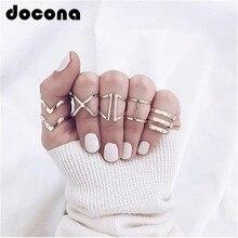 Docona Панк Золотой цвет геометрический Сплав набор колец на сустав пальца для женщин Девушка Миди палец кольца массивные украшения 6120