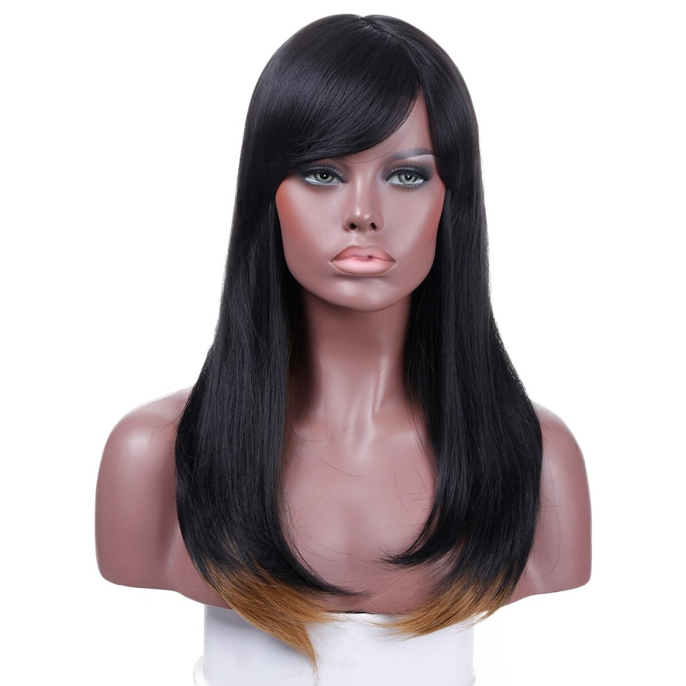 JINKAILI Heat Resistant long Straight Bob Wig Black White Ombre Synthetic Wigs For Women Natural Cosplay Fake False Hair