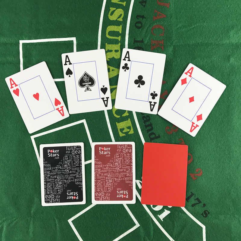 الساخن الأحمر والأسود اللون pvc المساعر المختار و البلاستيك بطاقات اللعب بوكر نجوم 2.48*3.46 بوصة ألعاب القمار البوكر yernea