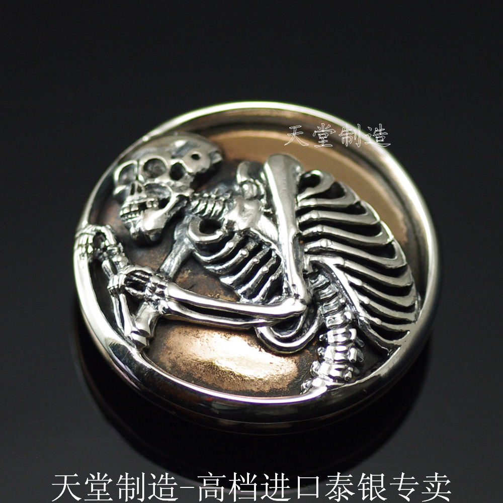 Thai silver , pure silver skull skeleton diy cloth buckle covered buttonsThai silver , pure silver skull skeleton diy cloth buckle covered buttons
