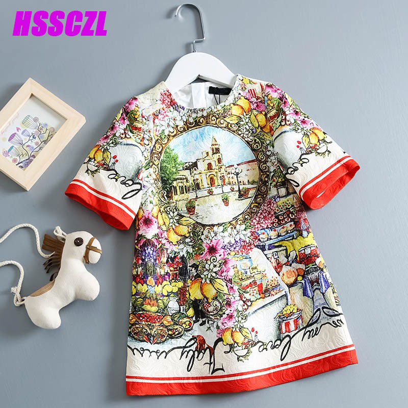 ФОТО HSSCZL girl dress spring  autumn national wind girls dresses printed pattern + polyester cotton short-sleeved flower