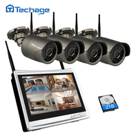 Techage 4CH 12 LCD Monitor Screen Wireless NVR Kit 1080P Wifi CCTV System Outdoor IP Camera