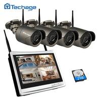 Techage Auto Pair 4CH 1080P Wireless CCTV System 12 inch LCD NVR 2MP IR Outdoor Wifi Security Camera P2P Video Surveillance Kit