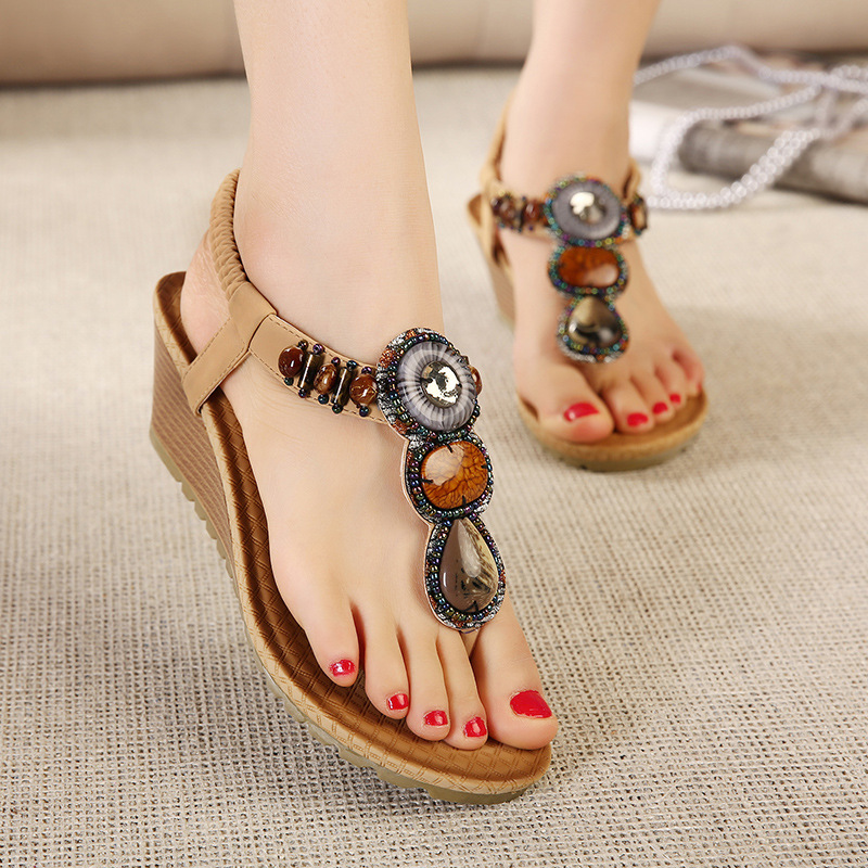 FONGIMIC Bohemia bead new style summer Rhinestone sandals female beading  Fashion medium wedges Sandals all match cool shoes-in Women s Sandals from Shoes  on ... da22aaf3171c