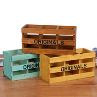 New Retro Vintage Zakka Wooden Storage Box Office Accessories Desk Organiser Stationery Organizer Holders Papeleria Wood