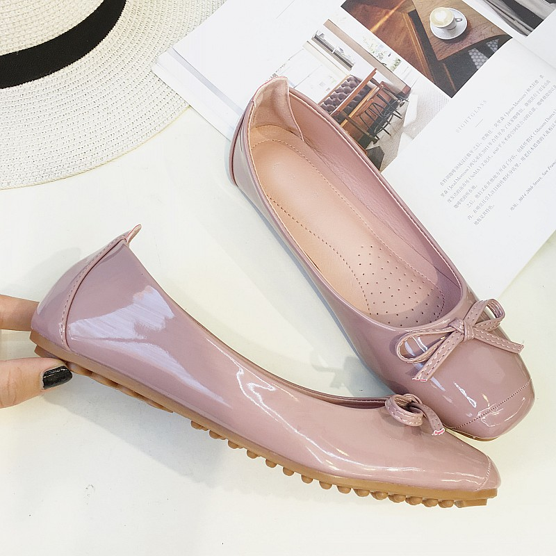 2017 Pink Fashion Women's Ballet Flats Spring Autumn Square Toe Bowtie Slip On Flat Shoes Woman Casual Loafers Ladies Moccasins