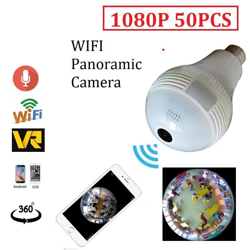 50pcs 1080p wifi Bulb Light design camera 2.0mp Wireless IP 360 degree bulb Panoramic Camera Wi-Fi Lamp cam use FishEye lens цена