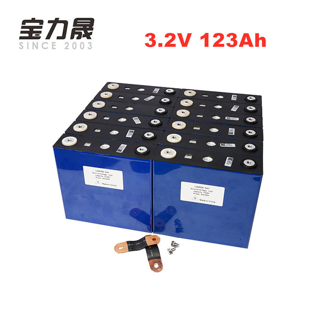 Nos impuesto de la UE libre 16 piezas 3,2 V 123Ah lifepo4 batería ciclo 4000 LFP solar de litio MAX 3C 24 V 36 V 120ah motor RV sistema de energía eólica RV