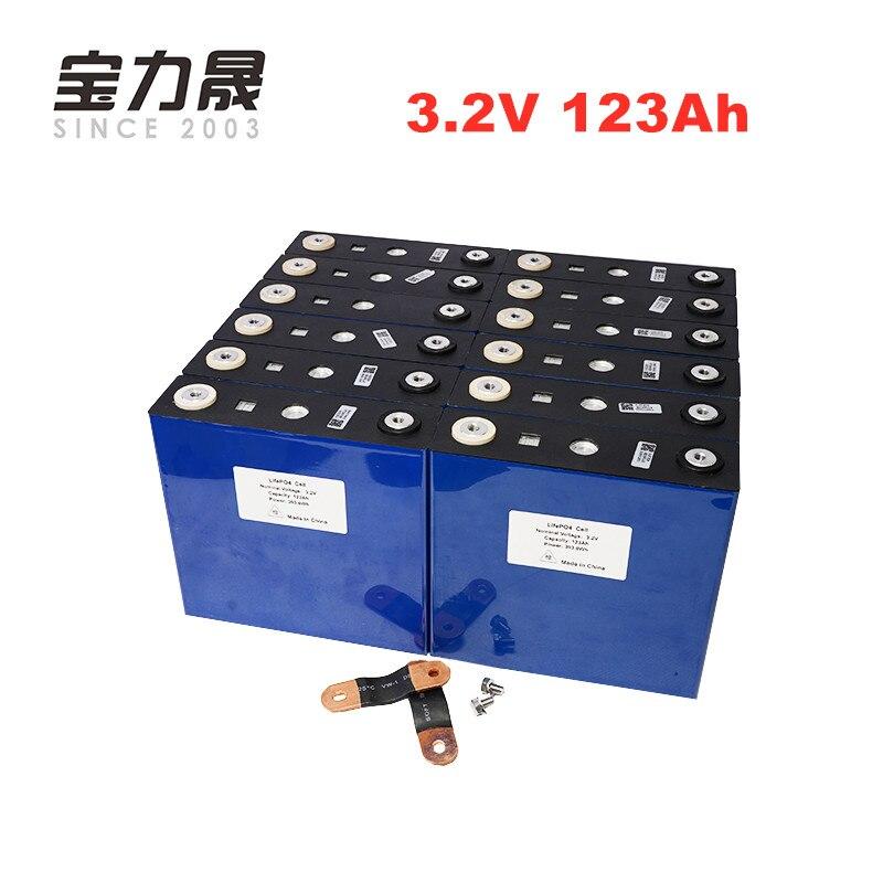 US EU TAX FREE 16PCS 3.2V 123Ah lifepo4 battery 4000 CYCLE LFP lithium solar MAX 3C 24V 36V 120ah RV motor wind power system RV