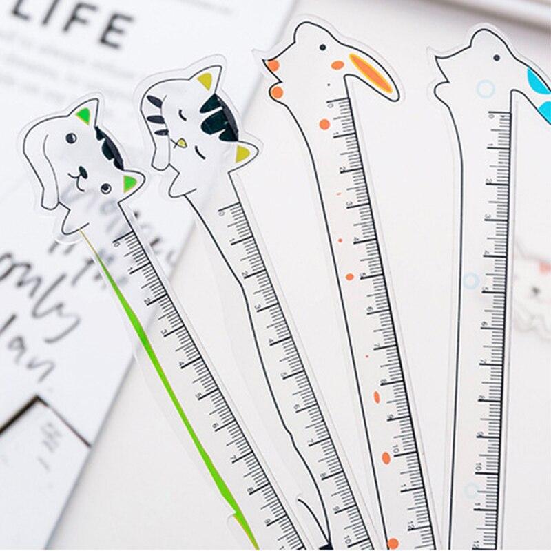 1 Pcs Cute Kawaii Cartoon Animal Cat Rabbit Transparent Ruler Creative Student Measure Drawing Tool School Stationery Prize