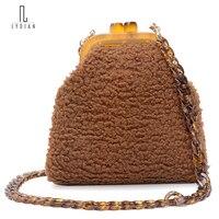 Lydian Mini Plush Khóa Nụ Hôn Ly Hợp Người Phụ Nữ Túi Xách Bán Hot 2017 Mùa Đông New Xanh Thời Trang Hoang Dã Chuỗi Shoulder Bags Messenger Totes