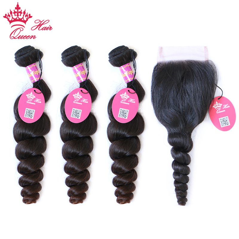 Queen Hair Products Brazilian Loose Wave Bundles With Lace Closure Free Part or Middle part 100% Virgin Human Hair Natural Color
