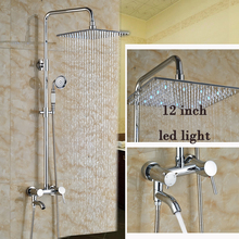 Polished Chrome Wall Mount Tub Shower Faucet Set Single Lever with Handheld Shower 12 LED Light