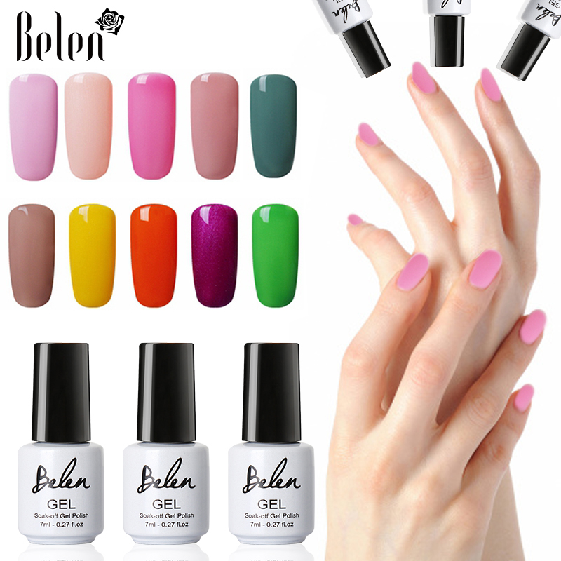 Belen 7ml UV Gel Nail Polish 79 Warna Rendam Off Long Lasting Lucky Varnish Primer Base Top Lacquer Hybrid Semi-permanen