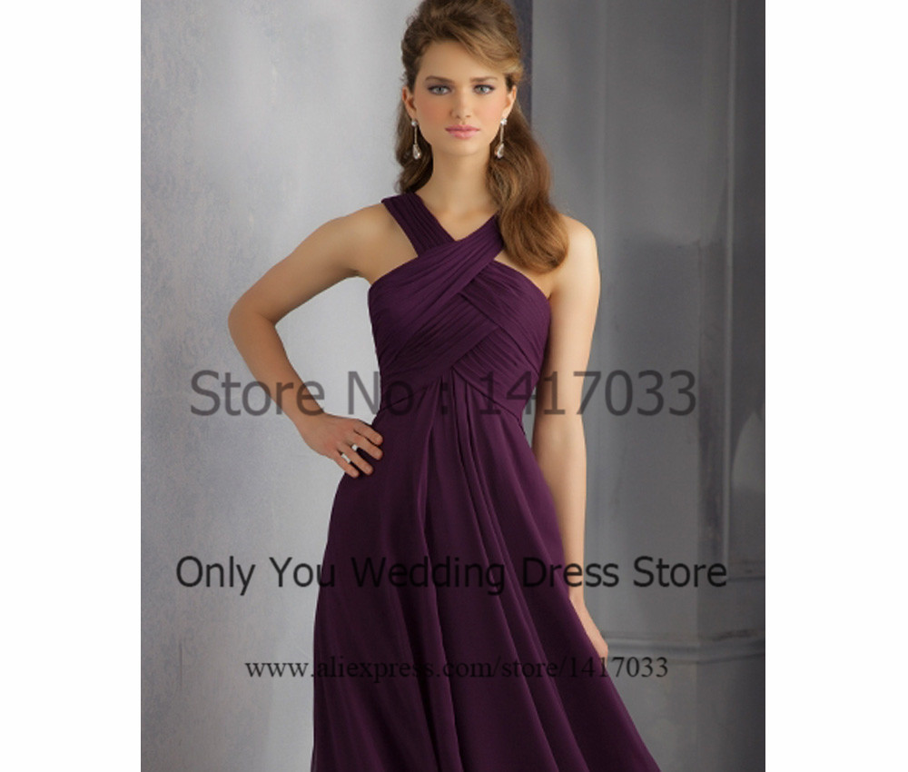 Purple halter pleated long bridesmaid dress for party over vestido purple halter pleated long bridesmaid dress for party over vestido para madrinha chiffon 2015 custom made in bridesmaid dresses from weddings events on ombrellifo Images