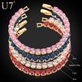 U7 aaa luxo pulseira de zircão para as mulheres nova moda banhado a ouro 4 cores de zircônia jóias 18 cm cadeia pulseiras h505