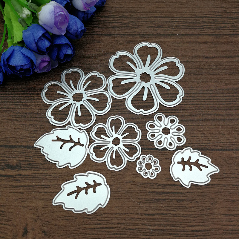 AOKEDIY 8pc flower spring leaf METAL CUTTING DIES Stencil