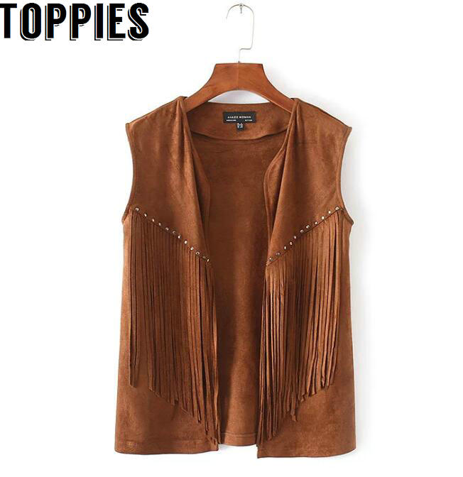 Women Brown Black Color Fringe Tassel Vest 80 39 S Boho Hippie Street Style Suede Vests Ladies
