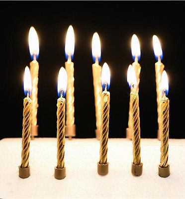 5pcs Festival Supplies Happy Birthday Cake Wedding Xmas Party Candles Unique Gold Silver Kitchen Baking Gifts