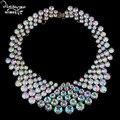 Dvacaman Marca 2017 Fashion Za Gargantillas de Cristal Para Las Mujeres de Lujo Party Collar Personalizado Joyería de Las Mujeres Declaración Collar y Colgante N46