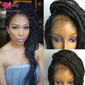 micro braid synthetic hair wig high quality jumbo braid synthetic lace front wig for black woman lace synthetic twist braids wig