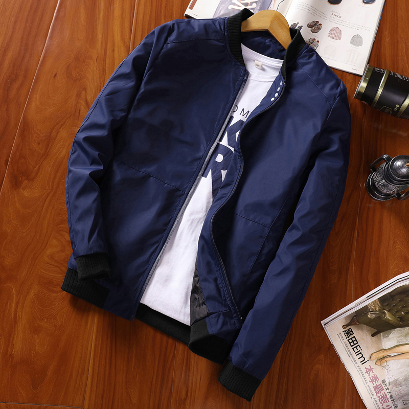 Autumn Men's Jacket Casual Solid Color Slim Coat Black Navy Red Gray Fashion Baseball Jacket Brand Clothing M-4XL;YA029