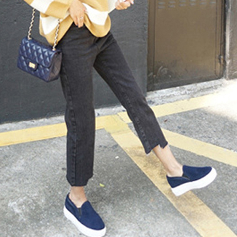 Ankle Nice Pants Palazzo blue Black Blue Jeans Boyfriend Cutting Korea Black length Waist Female Retro Edge Denim Spring Women High Y0xIH6g