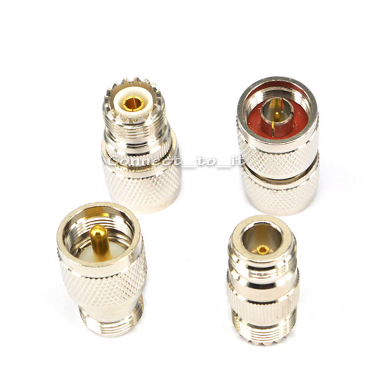 10 pcs/lot RF Coaxial Adapter Connector Kit N Male/Female to UHF PL-259 SO-239 M/F Straight Adapter adapter sma plug male to 2 sma jack female t type rf connector triple 1m2f brass gold plating vc657 p0 5