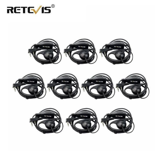 10 stuks D Vorm 2Pin Zachte Oorhaak Headset PTT Microfoon Accessoires Voor Kenwood Retevis H777 RT5 RT21 Baofeng 888s UV 5R Walkie Talkie