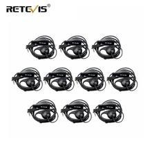 10pcs D צורת 2Pin רך אוזן וו אוזניות PTT מיקרופון אביזרי עבור Kenwood Retevis H777 RT5 RT21 Baofeng 888s UV 5R ווקי טוקי