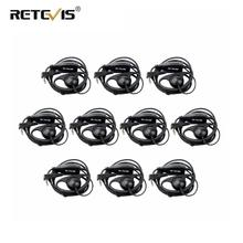 10pcs D รูปร่าง 2Pin Soft Ear Hook ชุดหูฟัง PTT Mic อุปกรณ์เสริมสำหรับ Kenwood Retevis H777 RT5 RT21 Baofeng 888s UV 5R Walkie Talkie