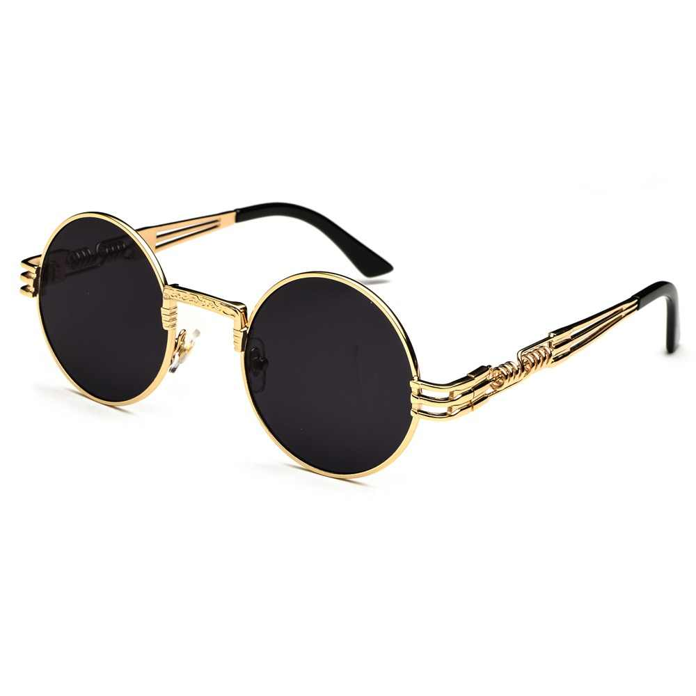 979491975 Peekaboo vintage retro gothic steampunk mirror sunglasses gold and black  sun glasses vintage round circle men