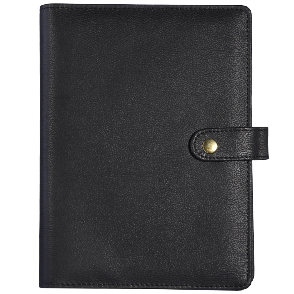 Cuaderno de botón Snap espiral recargable puro negro organizador de - Blocs de notas y cuadernos