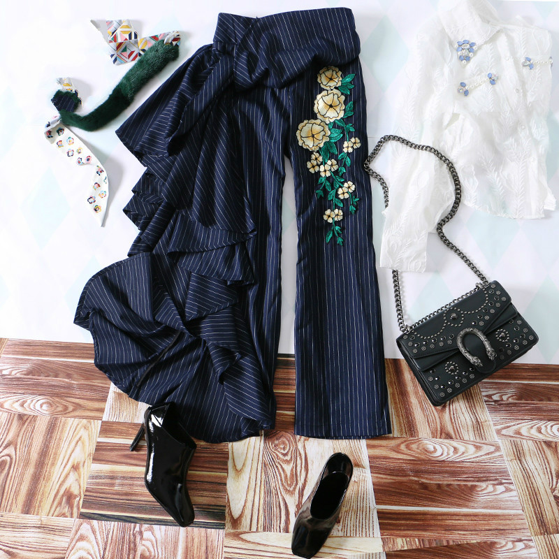 New Fashion Women Flare Pants.Asymmetrical Ruffles Pants Office Lady Embroidery Straight Trousers for women