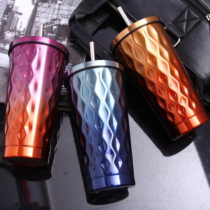 500ML diamond shape Doulbe wall Vacuum Stainless Steel mug Tumbler with straw Car coffee Mug Straw Thermos water
