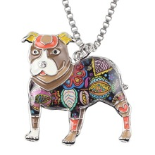 Statement Metal Alloy Pit Bull Buster Dog Choker Necklace  Pendant