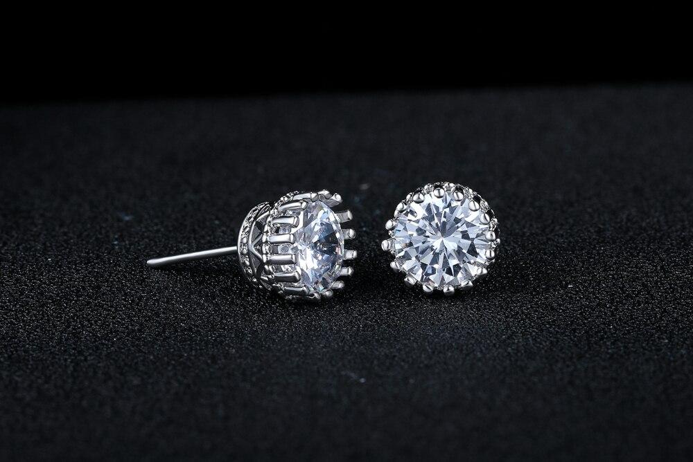 Classic Princess Crown Cubic Zirconia Stud Earrings