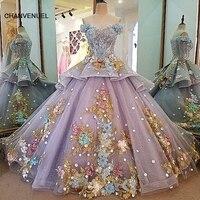 LS00035 Evening Dress Lace Beading Ball Gown Long Party Formal Dress Organza Robe De Soiree Abendkleider