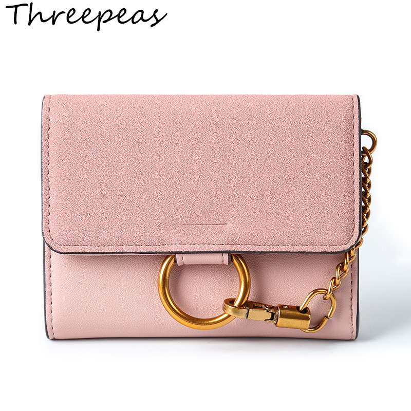 THREEPEAS Vintage Women Short Wallets Dull Polish Retro PU Leather Wallet Clutch Coin Purse Ladies with Ring baellerry small mens wallets vintage dull polish short dollar price male cards purse mini leather men wallet carteira masculina