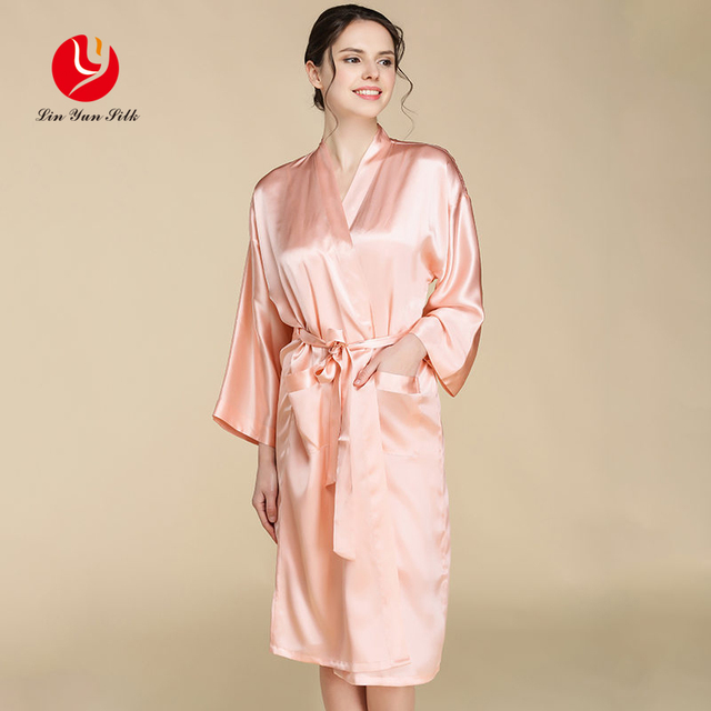 LIN YUN 2017 Real Silk Robe With Belt Women Bathrobe  Lounge Wear Solid Pajama for Summer Robe for Women Nightgowns Silk Robes