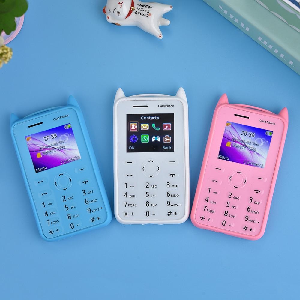 AEKU A5 C6 Large Display 1.77 Cartoon Kid Card Mobile Phone Child Bluetooth Whatsapp Small Size Student Low Radiation Music FM