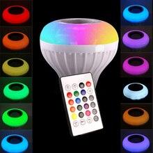 Smart LED Bulb Light Music RGB Bulb  Bluetooth Speaker Dimmable Lamp with Wireless 24 Keys Remote Controller honsco bluetooth v3 0 speaker e27 rgb 9w led bulb music lamp w remote controller ac 90 240v