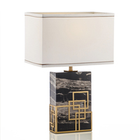 Post Modern American Black Dragon Marble TableLamp Model Room Living Room Bedroom Bedside European Bar Counter Lamp
