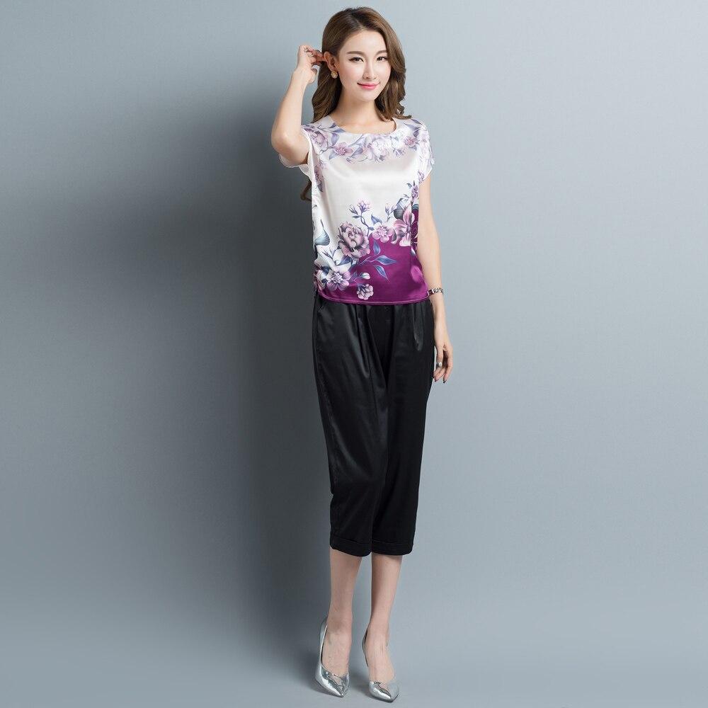 47b15c9aad25f Summer plus size print purple silk blouses women casual jpg 1000x1000 Purple  silk blouses