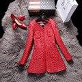 Mulheres de Estilo de luxo High-end Jaqueta De Couro Genuíno da pele de Carneiro/Médio-longo/Fino Vermelho/Azul/preto/Verde/Brown Outono Casaco LW9017